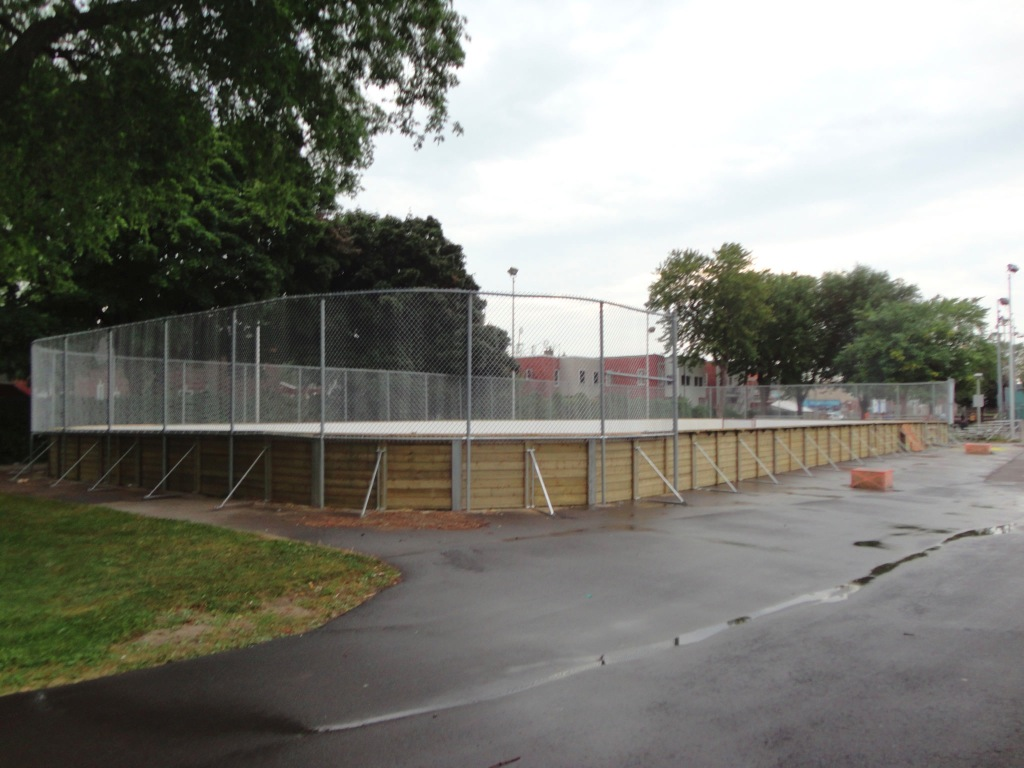 Side view of wooden municipal ice rink in Lachine, Quebec