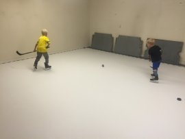 Installation of the synthetic ice rink at the home of Anton Strålman