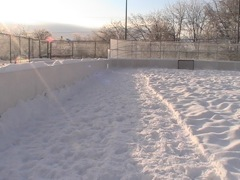 End result of packed snow by lawn roller.