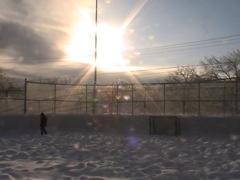 Enjoying the sunset while working on my backyard ice rink