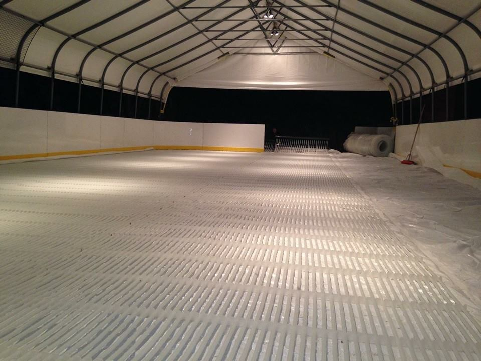 Ice rink piping oand canopy in Vancouver, British Columbia made by My Backyard Ice Rink.