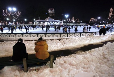 outdoor skating rink of Boston Common Rink, USA.