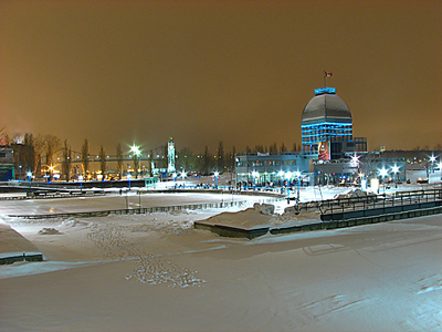 outdoor skating rink of Old Port Rink in Montreal, Canada.