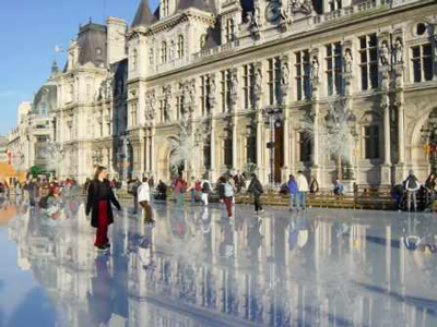 outdoor skating rink of Place de L'Hotel de Ville in Paris, France.