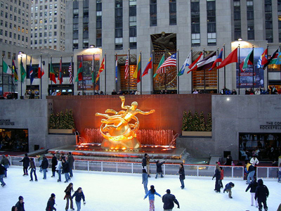 outdoor skating rink of Rockefeller Plaza in New York, USA.