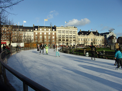 outdoor skating rink of Kongens Nytorv in Copenhagen, Denmark.