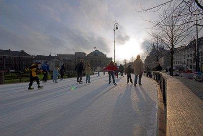 outdoor skating rink of Kongens Nytorv in Copenhagen, Denmark
