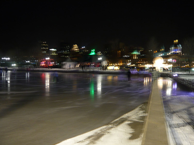 outdoor skating rink of Vieux Port Rink in Montreal, Canada.