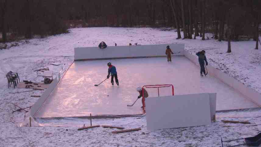 First Skate on Our Backyard Ice Rink in 2009