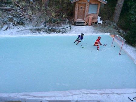 backyard ice rink of Claudio Iatan showing the plastic ice rink liner method