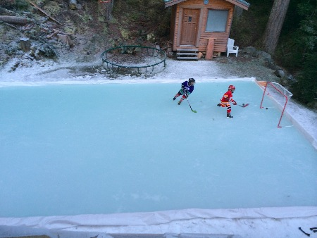 Backyard Ice Rink Of Claudio Iatan Showing The Plastic Ice Rink Liner Method