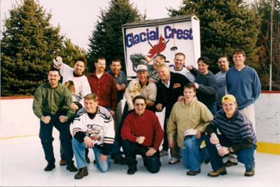 Jim Boisvert's Hockey Group Enjoy His Backyard Ice Rink