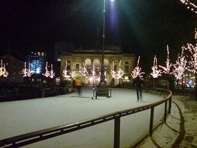 Night View of the Outdoor Skating Rink Kongens Nytorv, in Copenhagen, Denmark