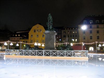 Outdoor Ice Skating Rink at Kungstradgarden Rink, in Stockholm, Sweden.