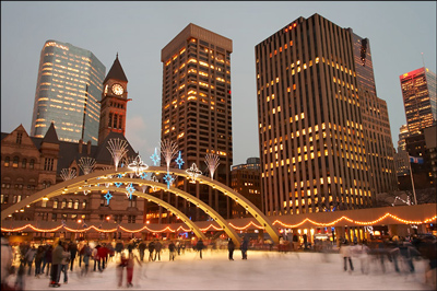 Outdoor Skating Rink of Nathan Phillips Square Rink in Toronto, Canada