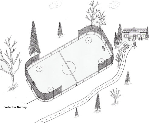 Ice Hockey Rink Showing Protective Netting