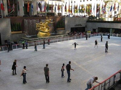 Outdoor Skating Rink of Rockefeller Plaza in New York, USA