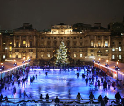 Outdoor Skating Rink of Somerset House in London, England